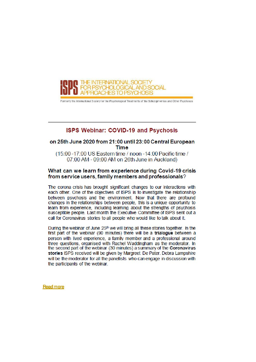 ISPS Webinar : COVID-19 and Psychosis – 24.11.2020 – 20h00 CET