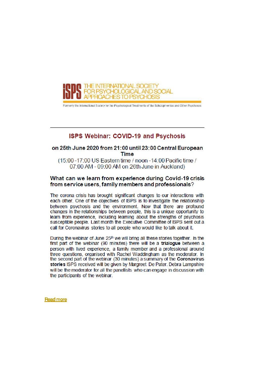 ISPS Webinar : COVID und Psychose: Auf lange Sicht damit leben – 24.11.2020 – 20h00 CET